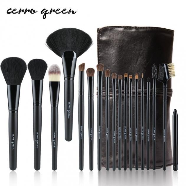 Cerro Qreen天然動物毛18支專業級化妝刷彩妝刷具組4色可選 5