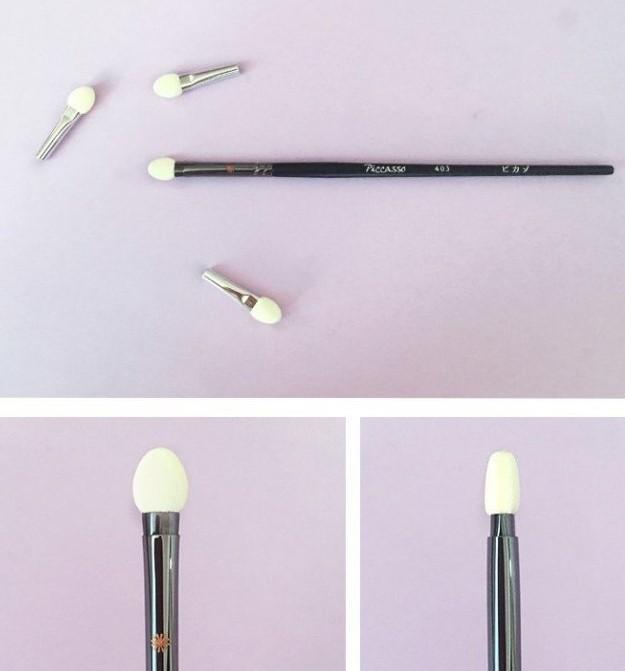 PICCASSO 403 白色海綿頭葵扇型眼影刷 內附3個替換頭 眼影刷 5