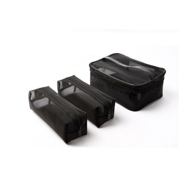 Cerro Qreen 黑色透明紗網格化妝包 洗漱收納包紗網包3個 超值組 1
