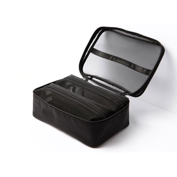 Cerro Qreen 黑色透明紗網格化妝包 洗漱收納包紗網包3個 超值組 2