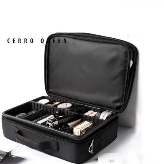 Cerro Qreen 專業黑色收納隔板大款化妝箱 化妝包彩妝 化妝刷 收納箱 新秘/彩妝師 1