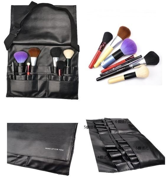 MAKE UP FOR YOU 黑色專業化妝刷腰包21個插孔 新秘 /彩妝師必備工具腰包 3