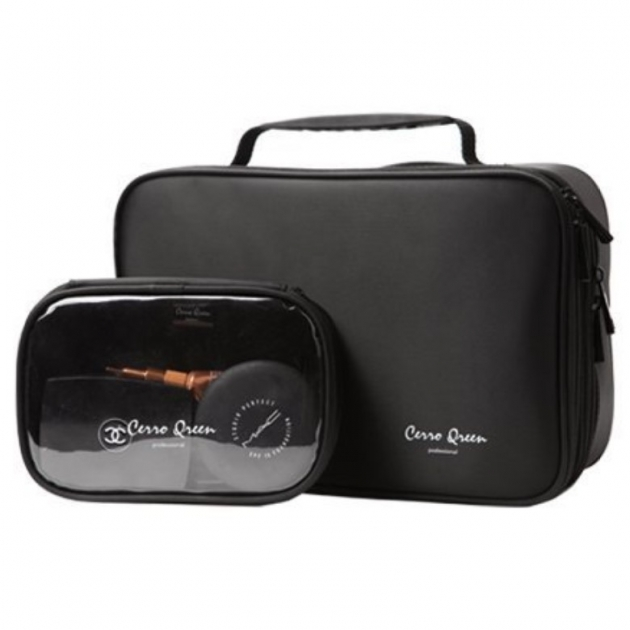 Cerro Qreen 專業黑色布面雙層手提式 化妝箱 化妝包 彩妝化妝刷收納箱 新秘/彩妝師 1