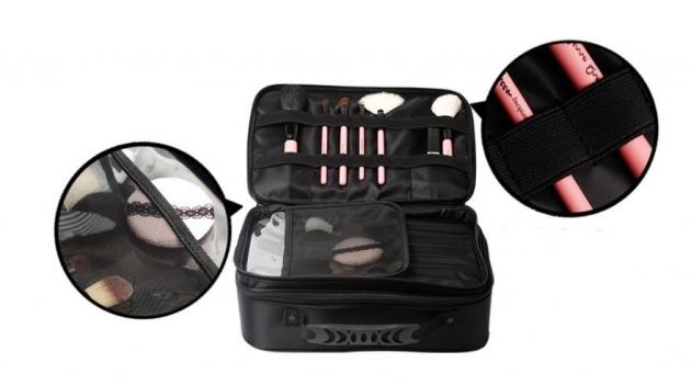 Cerro Qreen 專業黑色布面雙層手提式 化妝箱 化妝包 彩妝化妝刷收納箱 新秘/彩妝師 2