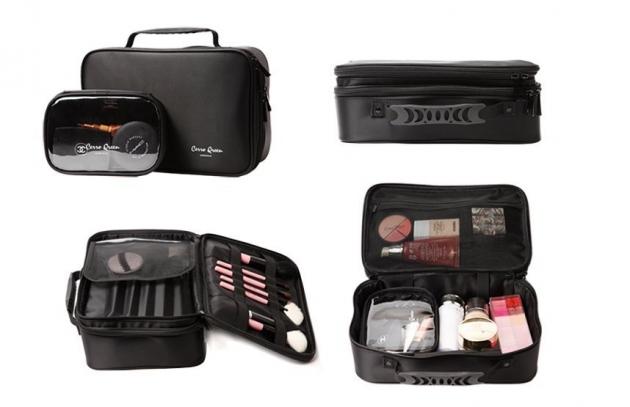 Cerro Qreen 專業黑色布面雙層手提式 化妝箱 化妝包 彩妝化妝刷收納箱 新秘/彩妝師 3